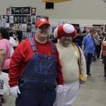 Mario and Toad cosplay.