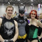 A paiting of vigilantes: Punsih, Batman, and villainess Poison ivy cosplay.